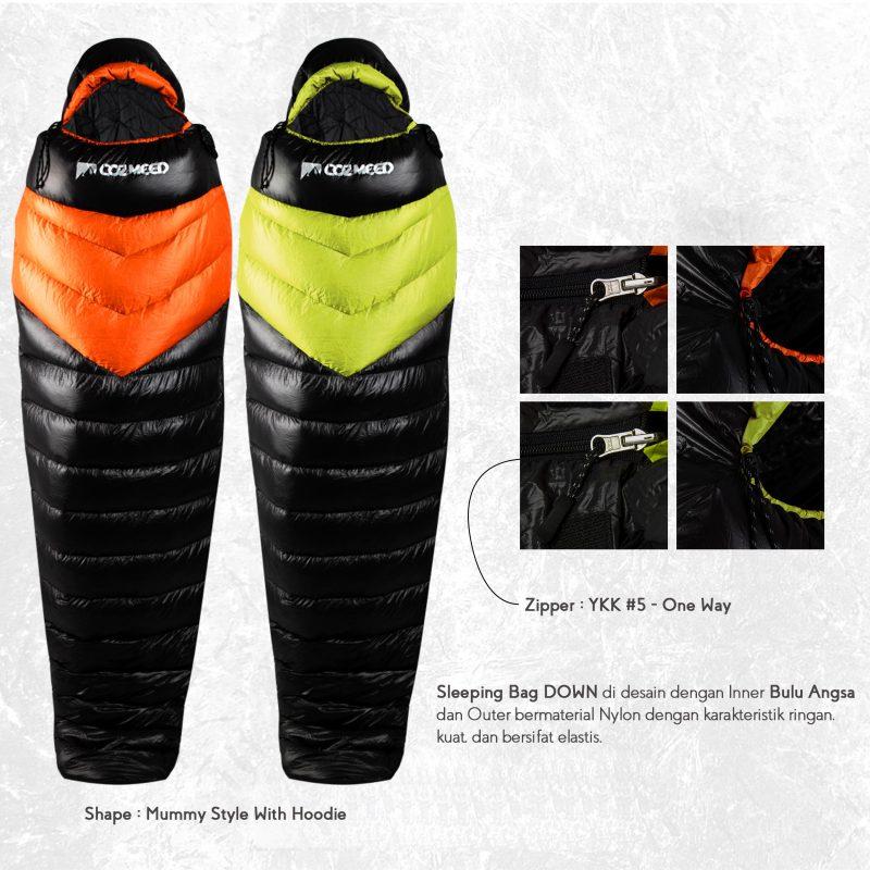 Gambar Sleeping Bag Bulang Down Black Orange 7