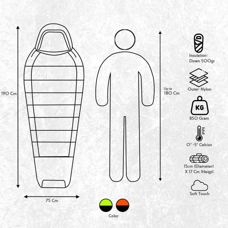 Gambar Sleeping Bag Bulang Down Black Orange 8